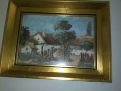 Falusi udvar Kurlander István akvarell