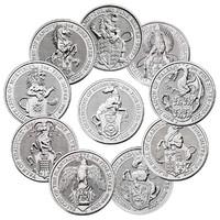 A királynő címerállatai 10 db 2 oz-s /2016-2021/szín ezüst érme.