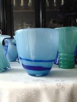 Régi kézműves kék üveg tál