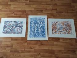Bizse János színes litográfia 3 darab 1977 Orfű