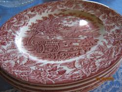 5 db  22 cm tányér pink szekeres angol