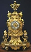 Antik francia, aranyozott bronz asztali óra a 19. századból