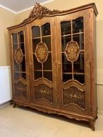 Gyönyörű, hibátlan barokk faragott intarziás szekrény