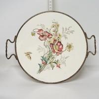 Mezei virágmintás, majolika kínálótálca (1898)
