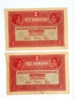 2 korona 1917 sorszámkövető 2db