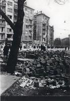 1956 fénykép modern előhívás/nagyítás 15x22 cm Barikád, romok, emberek