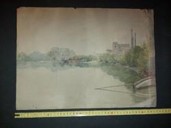 Gremsperger Ernő, 1916, akvarell festmény, viseltes állapotban, méret jelezve...
