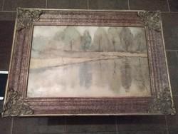 Fehér Imre tükörkép című olaj festmény.