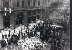 1956 fénykép modern előhívás/nagyítás 22x15 cm Kossuth Lajos utca - Semmelweis utca sarok