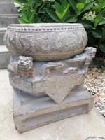 15. századi, Kínai faragott kő, oszlop talpazat! Gyönyörű faragás! Certifikáció!! Aukción szerepelt!