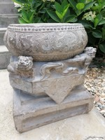 15th century, Chinese carved stone, column pedestal! Beautiful carving! Certification !! It was on auction!