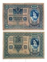 1000 Korona 1902 Magyar és Osztrák 2db