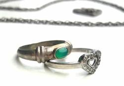 EZÜST gyűrűk, nyaklánc és szív alakú medál, JELZETT ezüst, JADE kővel