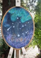 Oval acrylic painting- universe, aurora, virgo constellation painting
