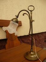 Igazi kecses női, 46 cm magas antik íróasztal lámpa / bankár lámpa / asztali lámpa