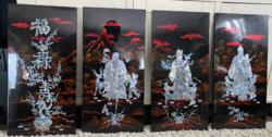Gyönyörű gyöngyház berakásos lakk képek (4db 59x29cm) Feng Shui Istenek (Fuk, Luk, Sau)