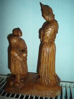 Gyönyörű, vintage faragott fa , vagy műgyanta szoborcsoport