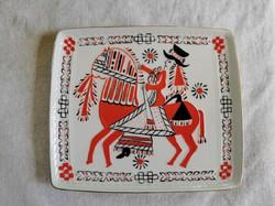 Hollóházi porcelán falidísz, retro porcelán falikép