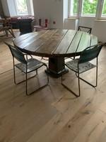 Fém étkezőasztal fa lappal, 6 székkel, ebédlőasztal garnitúra