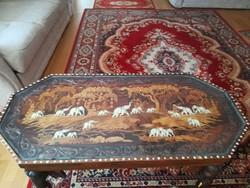 Antik indiai intarzia és csontberakásos asztal