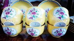 6 személyes Antik Herendi Sárga Mohong reggeliző szett áttört csészékel, mandarin fogóval