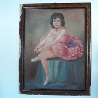 Mesterháy Dénes: Balerina festmény (olaj-vászon, sérült)
