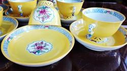 Antik Herendi sárga Mohong áttört mokkás csésze mandarin fogóval