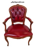 A376 antique baroque chesterfield leather armchair