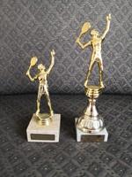 2 db tenisz / tollaslabda trófea / szobor