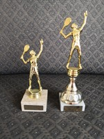 2 tennis / badminton trophies / statues