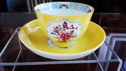 Antik Herendi sárga Mohong mokkás csésze gyík fogóval