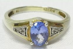 Harry Ivens IV Tanzanit - Gyémánt drágaköves, sterling ezüst gyűrű  /925/ - új