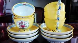 6db antik Herendi sárga Mohong áttört mokkás csésze mandarin fogóval