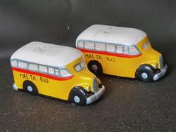 Maltese bus ceramic salt and pepper shaker (not used)