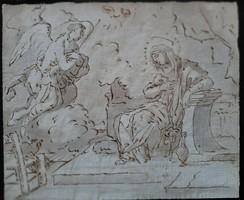 LUCA GIORDANO reprodukció (Nápoly , 1634 - 1705) Angyali üdvözlet