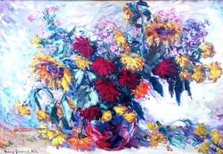 Iványi-Grünwald Béla (1867-1940): Csendélet vegyes virágokkal