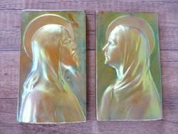 Antik Zsolnay eozin mázas Mária és Jézus fali dísz