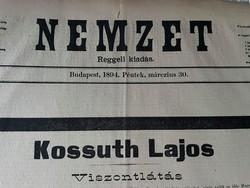 Antik újság! Kossuth Lajos temetése 1894 - Nemzet című újság díszkiadás, szabadságharc, monarchia