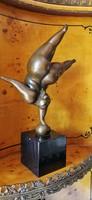 Molett női akt - art deco bronz szobor