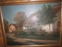 Kardos Gábor falusi ház olaj fa festmény
