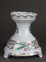 1F893 Virágmintás Hollóházi porcelán egyállásos gyertyatartó