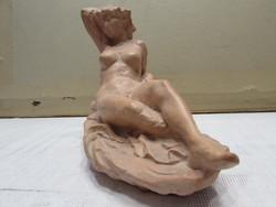 Jelzett terrakotta akt szobor