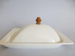 Antik fehér porcelán vajtartó,fa fogóval
