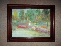 Tempera festmény, szép keretben, méret jelezve!