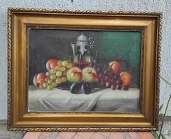 Olaj vászon festmény Csendélet gyümölcs,Jelzett.S.Dallos