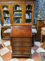Antique style - inlaid - 6 drawers - openable desk secretary writing compartment