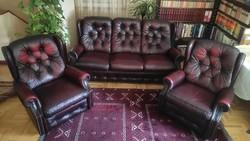 Original chesterfield genuine leather sofa (3 + 1 + 1)