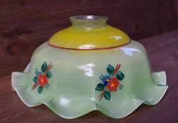 Antik lámpabúra színes festett fodros szélű tejüveg 24,5 x 10 cm lámpa , csillár búra
