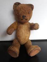Antik szalmás, fatalpú maci, 26 cm