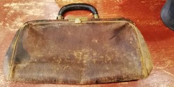 Bőr orvosi táska a 19.sz.végéről, kézi táska orvosi eszközöknek